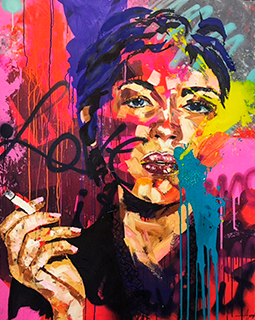 colorful painting of a woman smoking
