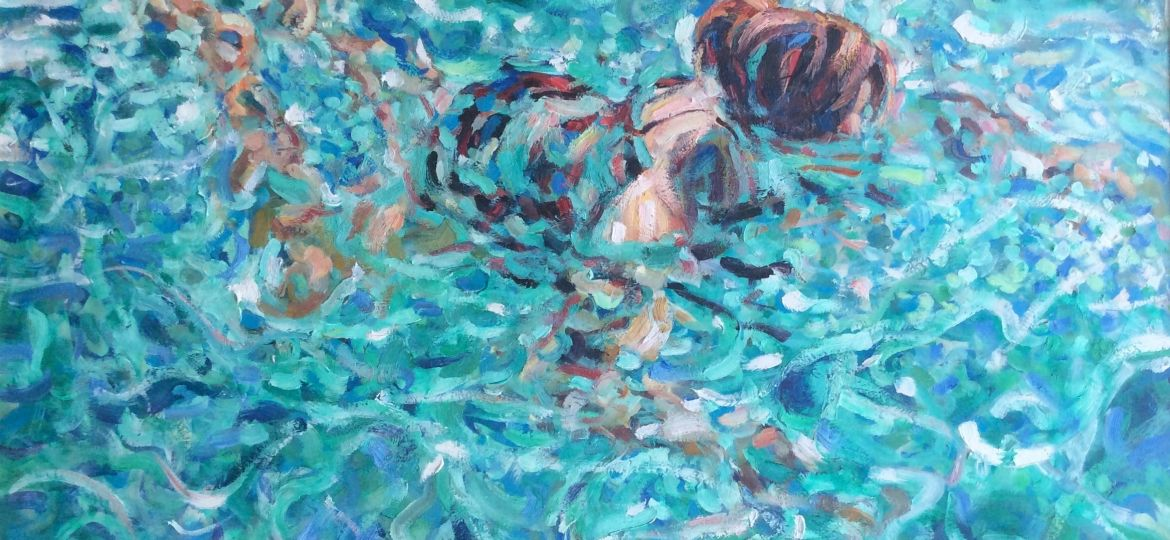 A Maderson The Pool 78 x 117 cm oil on board-min