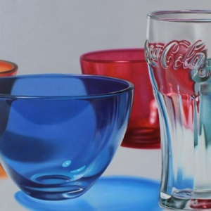 Drawing of a blue bowl a coca cola glass and a red bowl