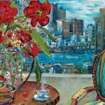 Painting of a chair in front of a window with the view of new york