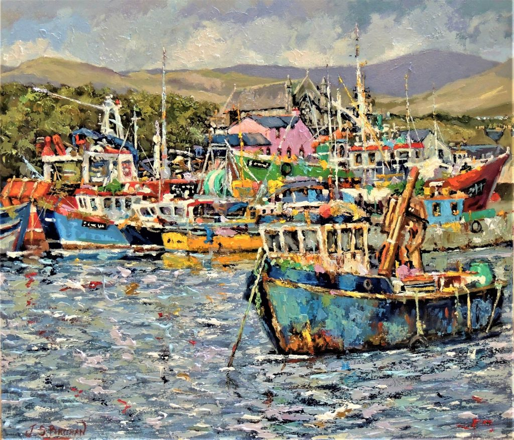 painting of many fisher boats on the coast
