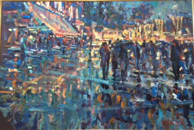 blurry painting of people walking on a street by night