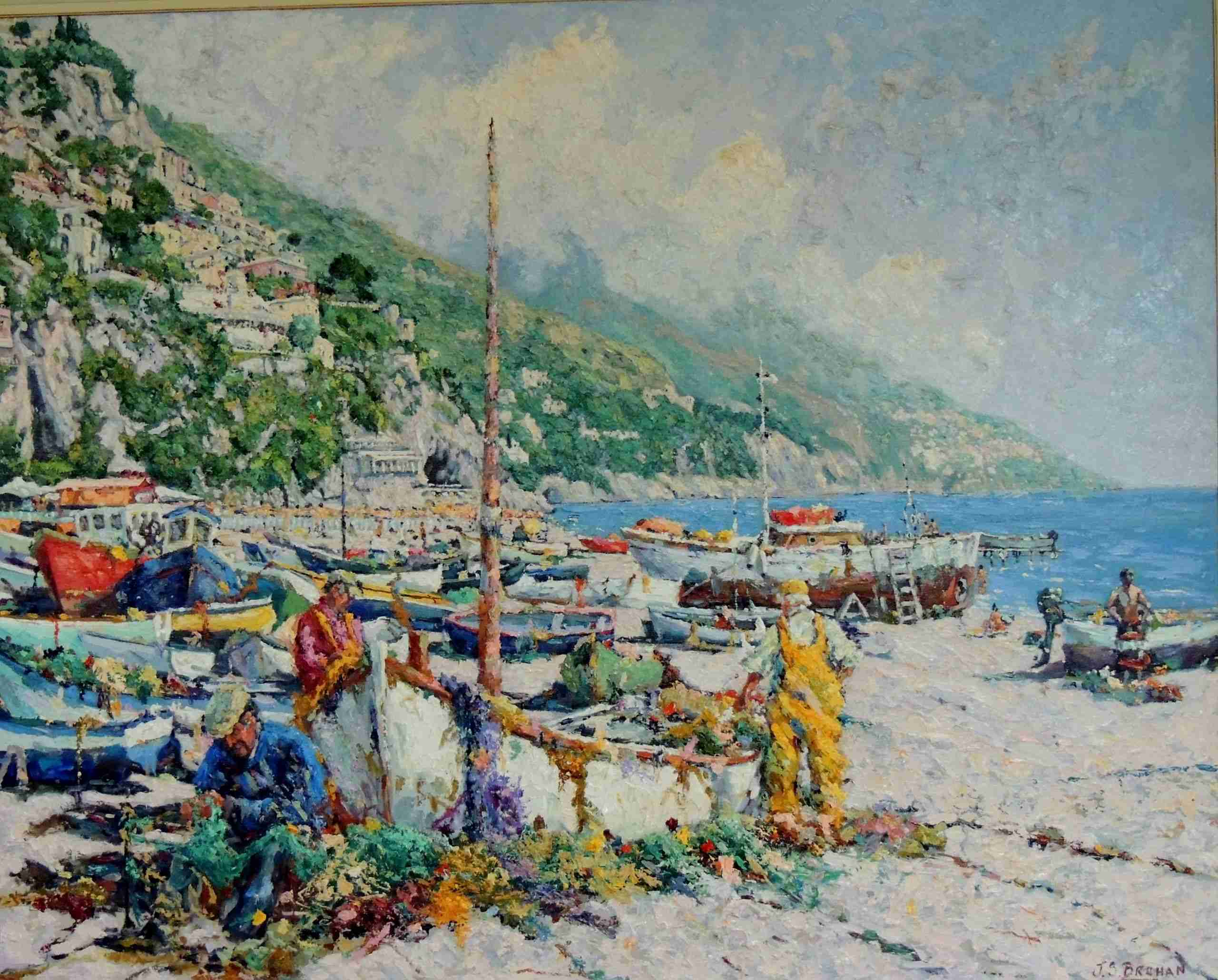 painting of a small habour with sandy ground