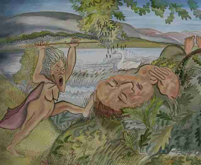 sleeping man by a river being screamed at