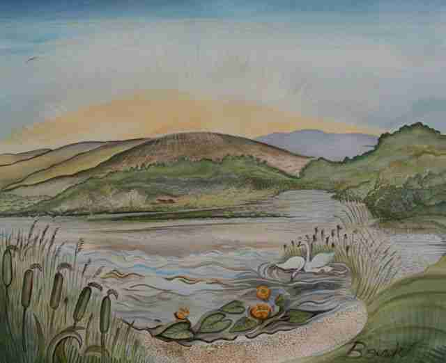 painting of a small lake between hills