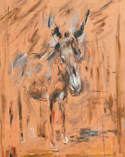abstract drawing of a donkey on brown background