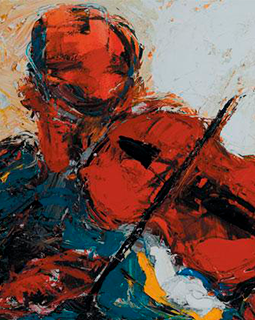 abstract painting of a man playing the violin