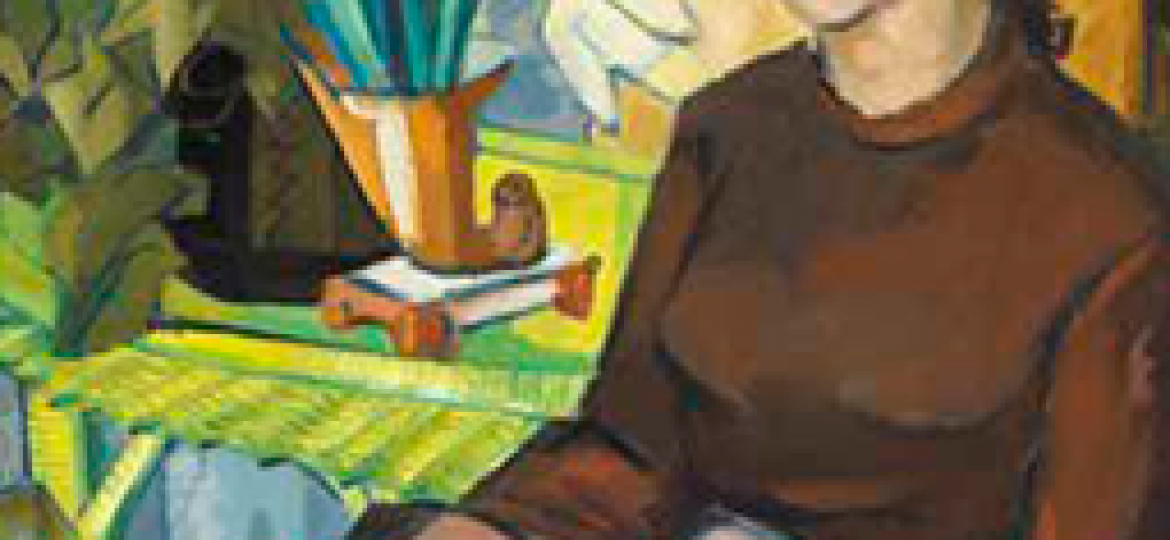 painting of a woman sitting on a desk